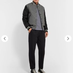 GOLDEN BEAR Wool-Blend And Leather Bomber Jacket